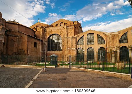 The Baths of Diocletian (Thermae Diocletiani) in Rome