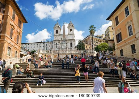 ROME - CIRCA OCTOBER 2012: The Spanish Steps seen from Spanish square (Piazza di Spagna) in Rome.The Spanish Steps are the widest staircase in Europe.