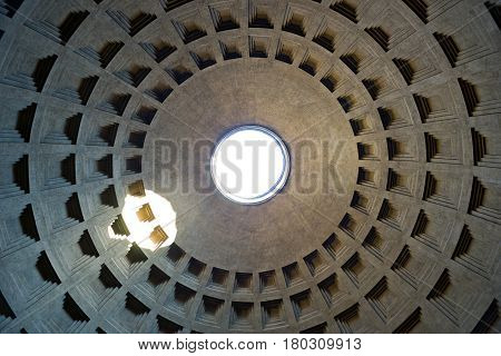 ROME - OCTOBER 2, 2012: Internal part of dome in Pantheon, Rome, Italy