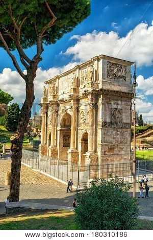 ROME, ITALY - OCTOBER 4, 2012: Antique arch of Constantine the Great.