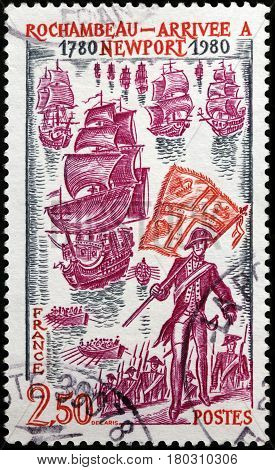 LUGA RUSSIA - FEBRUARY 7 2017: A stamp printed by FRANCE shows Landing of a French auxiliary army in Newport Rhode Island on 11 July 1780 under the command of Rochambeau circa 1980.