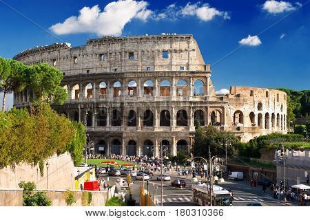 ROME - OCTOBER 4, 2012: The famous Colosseum (Coliseum) in Rome, Italy.