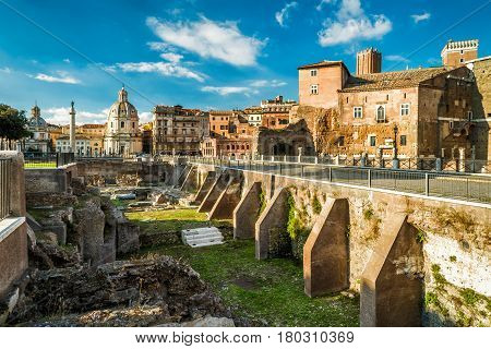 Ruins of ancient Forum of Augustus near Roman Forum in Rome, Italy