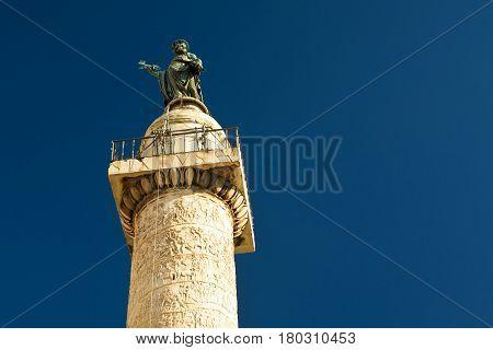 Famous column of Trajan in Rome, Italy
