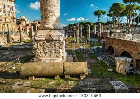 Ruins of the forum of Trajan in Rome, Italy