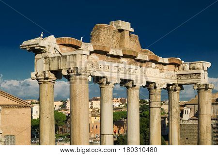 Columns of the temple of Saturn in the Roman Forum in Rome, Italy