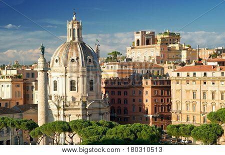 View of Rome (left column of Septimius Severus), Italy