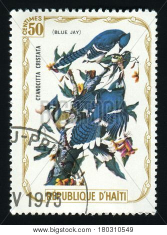 HAITI - CIRCA 1975: A post stamp printed in Haiti shows Blue Jay, series devoted to the birds, circa 1975.