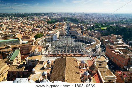 View of Rome and St Peter's Square from dome of St. Peter`s Basilica, Rome, Italy