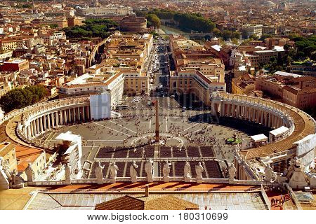 St. Peter Square from the dome of St. Peter`s Basilica in Rome, Italy