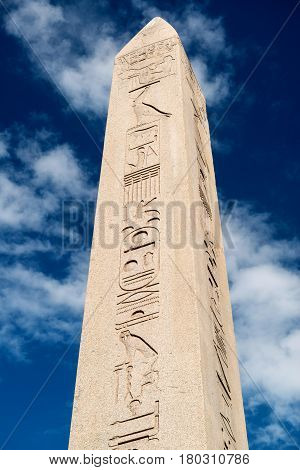 The Obelisk of Theodosius in Istanbul, Turkey. This is the Ancient Egyptian obelisk of Pharaoh Tutmoses III re-erected by the Roman emperor Theodosius I in the 4th century.