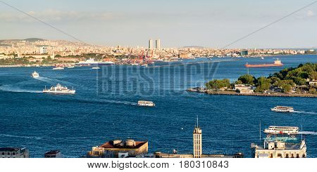 Central Istanbul, Turkey. The confluence of the Golden Horn and the Bosporus. View from the Galata.