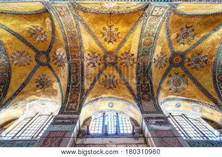 ISTANBUL - MAY 25, 2013: The ceiling of the Hagia Sophia in Istanbul, Turkey. Hagia Sophia is the greatest monument of Byzantine Culture. It was built in the 6th century.