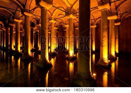 ISTANBUL - MAY 25, 2013: The Basilica Cistern in Istanbul, Turkey. It is the largest of several hundred ancient cisterns that lie beneath the city of Istanbul (formerly Constantinople).