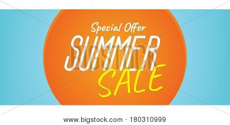 Summer Sale Heading Design Like The Sun For Banner Or Poster. Sale And Discounts. Vector Illustratio