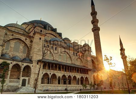 ISTANBUL - MAY 25, 2013: The Suleymaniye Mosque at sunset in Istanbul, Turkey. The Suleymaniye Mosque is the largest mosque in the city and one of the best-known sights of Istanbul.