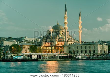 Mosque on the Golden Horn at night in Istanbul Turkey