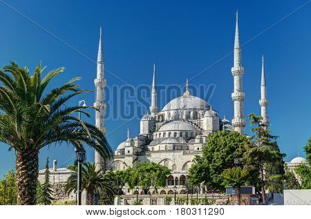 View of the Blue Mosque in Istanbul, Turkey. The Blue Mosque (Sultanahmet Camii) is a historical monument and a beautiful mosque in Istanbul.