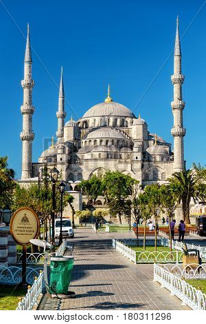 ISTANBUL - MAY 26, 2013: Blue Mosque (Sultanahmet Camii). The Blue Mosque is a historical monument and a beautiful mosque.