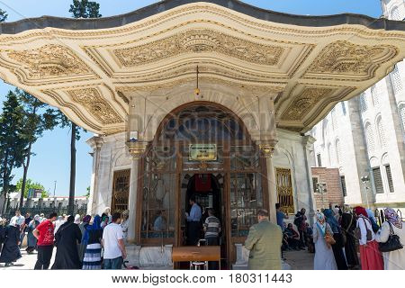 ISTANBUL - MAY 26: Tomb of sultan Mehmed the Conqueror on may 26, 2013 in Istanbul, Turkey. Mehmed the Conqueror (Fatih Sultan Mehmet) captured Constantinople in 1453 and brought an end to the Byzantine Empire transforming the Ottoman state into an empire