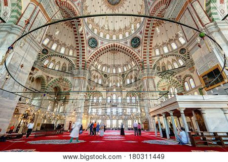 ISTANBUL - MAY 26: Inside the Fatih Mosque on may 26, 2013 in Istanbul, Turkey. The Fatih Mosque Mosque (Conqueror's Mosque) is one of the largest examples of Turkish-Islamic architecture in Istanbul.