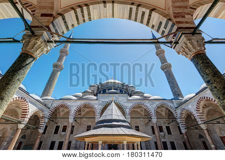 The Fatih Mosque (Conqueror's Mosque) in Istanbul, Turkey. The Fatih Mosque Mosque (Conqueror's Mosque) is one of the largest examples of Turkish-Islamic architecture in Istanbul.