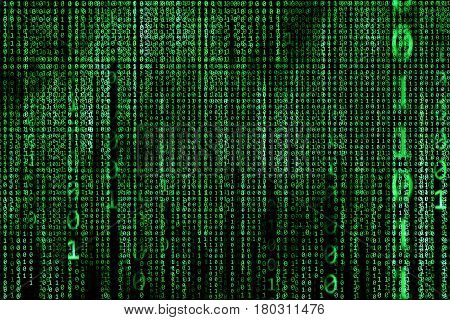 Hacker concept. computer binary codes.Green text on black background.