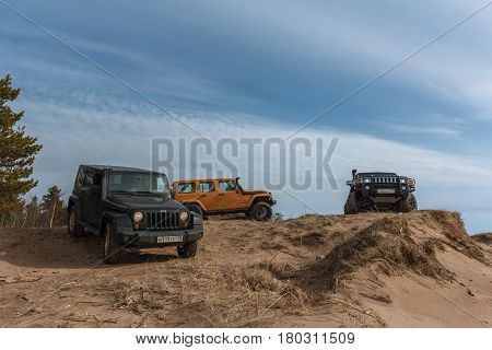Leningrad region, Russia - April 01, 2017. Jeep Wrangler off-road in the Leningrad region. Wrangler is a compact SUV produced by Chrysler