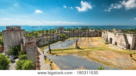 Panoramic view of the Yedikule Fortress in Istanbul, Turkey. Yedikule fortress or Castle of Seven Towers is the famous fortress built by Sultan Mehmed II in 1458.