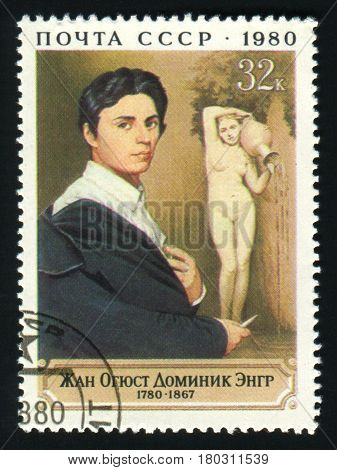 USSR - CIRCA 1980: A post stamp printed in the USSR shows artist Jean Auguste Dominique Ingres, circa 1980