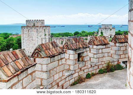 The Yedikule Fortress in Istanbul, Turkey. Yedikule fortress or Castle of Seven Towers is the famous fortress built by Sultan Mehmed II in 1458.