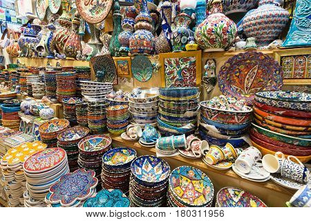 ISTANBUL - MAY 27, 2013: A variety of oriental items of Grand Bazaar on may 27, 2013 in Istanbul, Turkey. The Grand Bazaar is the oldest and the largest covered market in the world with 61 covered streets and over 3000 shops.