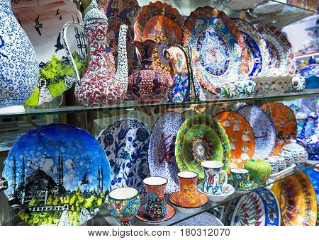 ISTANBUL - MAY 27, 2013: Turkish ceramics of the Grand Bazaar in Istanbul, Turkey. The Grand Bazaar is the oldest and the largest covered market in the world with 61 covered streets and over 3000 shops.