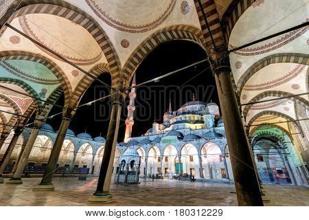 ISTANBUL - MAY 27: The inner courtyard of the Blue Mosque (Sultanahmet Camii) at night on May 27, 2013 in Istanbul, Turkey. The Blue Mosque is the most beautiful mosque and one of the main attractions of Istanbul.