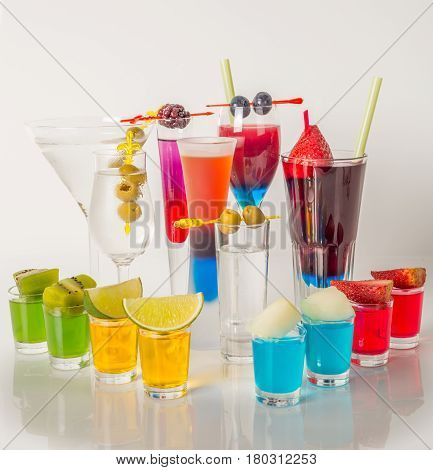 Colorful Set Of Drinks, Color Drink Decorated With Fruit, Sunglasses, Drink Straw, Color Shots