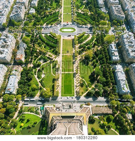 The Champ de Mars. View from the Eiffel Tower, Paris, France
