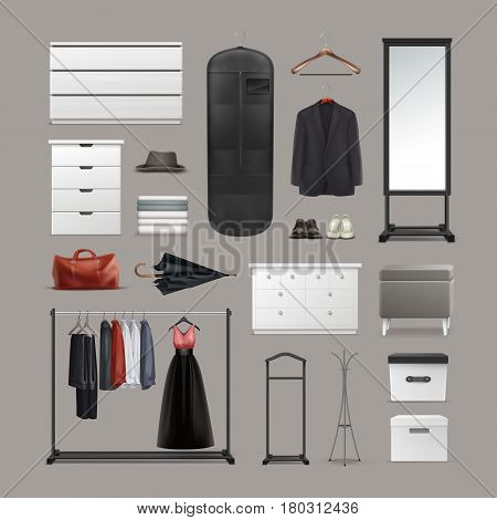 Vector set of wardrobe stuff hangers, boxes, mirror, pouf, racks and stands, different clothes, bag, shoes and umbrella front view isolated on background