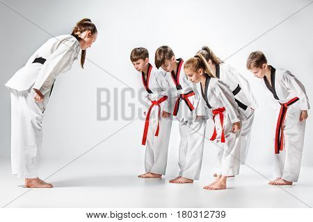 The studio shot of group of kids training karate martial arts on gray background