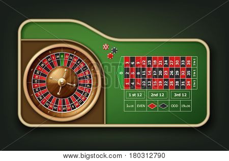 Vector realistic casino roulette table, wheel and chips top view isolated on green background