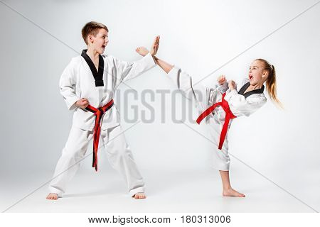The studio shot of kids training karate martial arts on gray background
