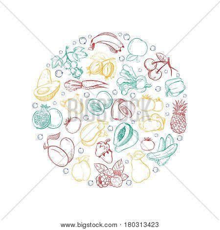 Vegan vector logo template with doodle vegetables and fruits. Drawing natural organic fruit illustration