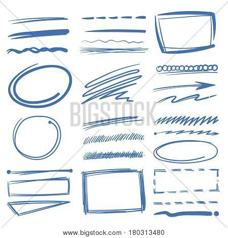 Doodle highlighter vector elements, sketch circles, hand drawn underline, pencil marks. Sketch drawing scribble elements illustration