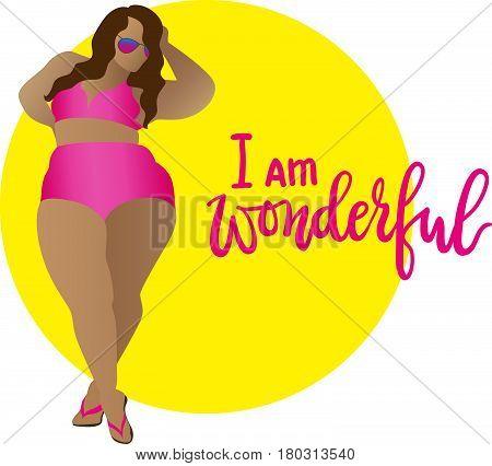 I am wonderful. Body positive curvy girl in bikini. Vector icon plus size woman