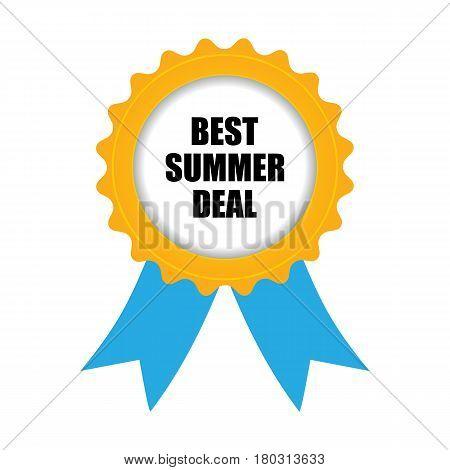 best summer deal badge blue-yellow design, eps10