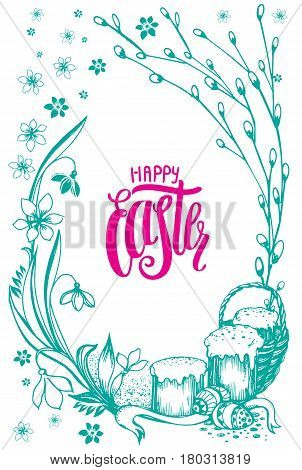 Easter background, holiday stillife with modern lettering