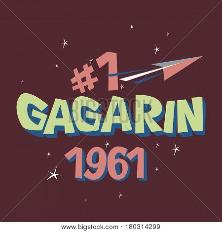 Logo text Gagarin first astronaut USSR space concept