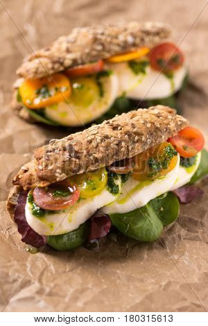 Healthy Vegetarian Sandwich with Baby Spinach Mozzarella Cheese and Grape Tomatoes