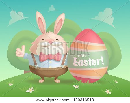 Happy Easter greeting card with a hare and an egg