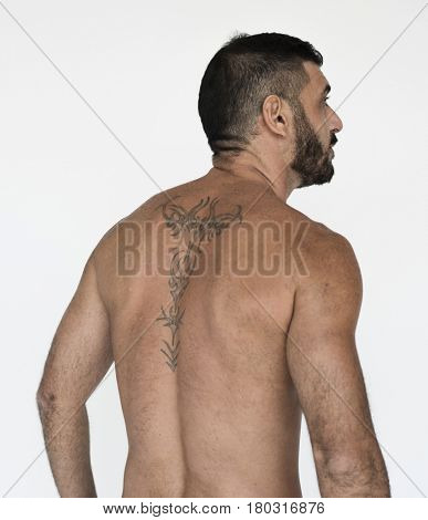 Middle Eastern Man Rear View Shirtless Studio Portrait
