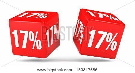 Seventeen Percent Off. Discount 17 %. Red Cubes.